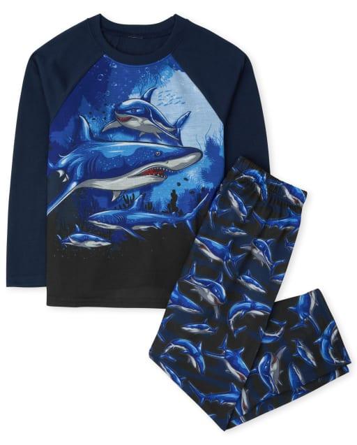 Boys Long Sleeve Shark Pajamas