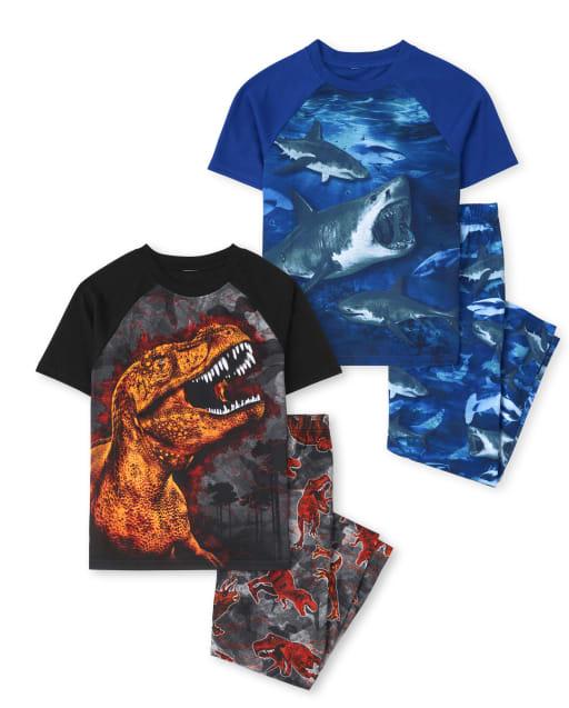 Pack de 2 pijamas de manga corta con tiburón dinosaurio para niños