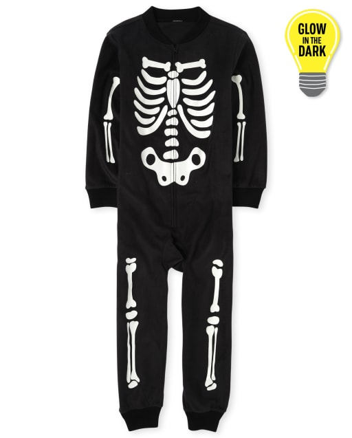 Unisex Kids Matching Family Halloween Long Sleeve Glow In The Dark Skeleton Fleece Hooded One Piece Pajamas