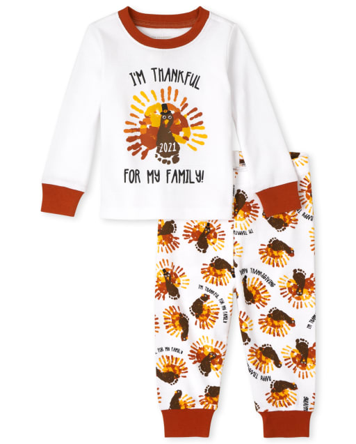 Unisex Baby And Toddler Long Sleeve Thanksgiving Snug Fit Cotton Pajamas