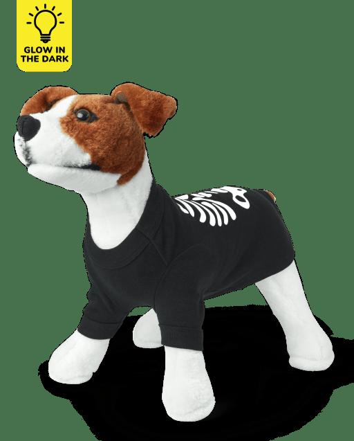 Dog Matching Family Halloween Short Sleeve Glow In The Dark Skeleton Cotton Pajamas