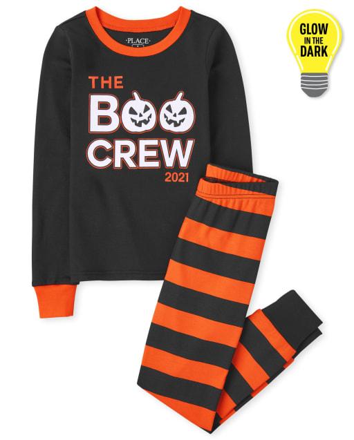 Unisex Kids Halloween Long Sleeve Glow In The Dark Boo Crew Snug Fit Cotton Pajamas