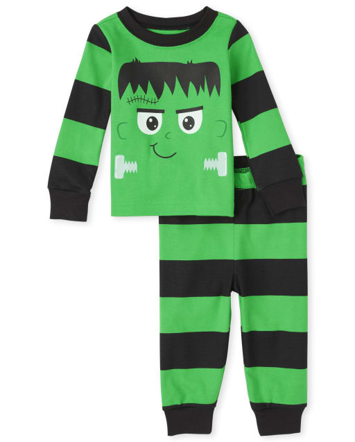 Unisex Baby And Toddler Halloween Long Sleeve Frankenstein Snug Fit Cotton Pajamas
