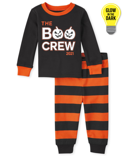 Unisex Baby And Toddler Halloween Long Sleeve Glow In The Dark Boo Crew Snug Fit Cotton Pajamas