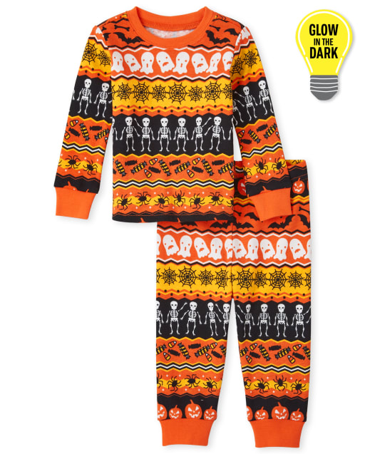 Unisex Baby And Toddler Matching Family Long Sleeve Glow In The Dark Halloween Fairisle Snug Fit Cotton Pajamas