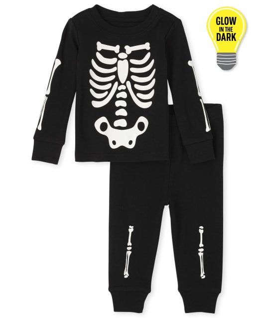Unisex Baby And Toddler Matching Family Long Sleeve Glow In The Dark Skeleton Snug Fit Cotton One Piece Pajamas