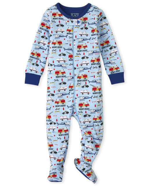 Baby And Toddler Boys Long Sleeve Emergency Vehicle Snug Fit Cotton One Piece Pajamas