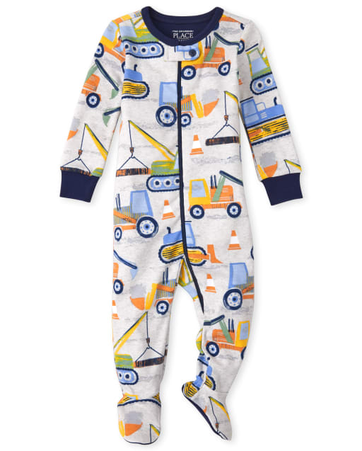 Baby And Toddler Boys Long Sleeve Construction Snug Fit Cotton One Piece Pajamas