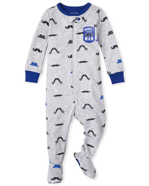 Baby And Toddler Boys Long Sleeve Mustache Snug Fit Cotton One Piece Pajamas