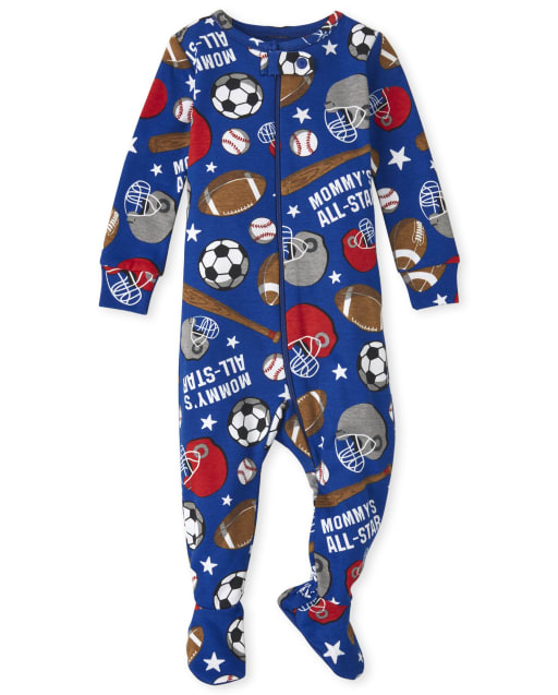 Baby And Toddler Boys Long Sleeve Sports Snug Fit Cotton One Piece Pajamas