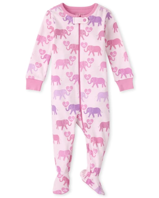 Baby And Toddler Girls Long Sleeve Elephant Snug Fit Cotton One Piece Pajamas