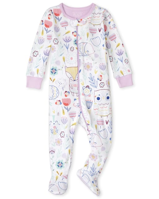 Baby And Toddler Girls Long Sleeve Floral Snug Fit Cotton One Piece Pajamas