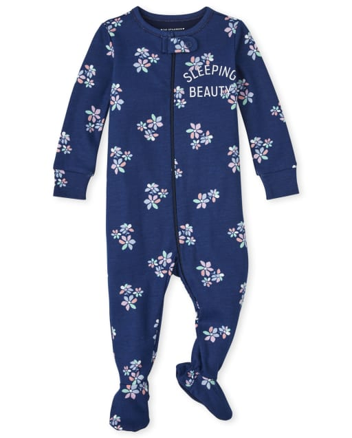 Baby And Toddler Girls Long Sleeve 'Sleeping Beauty' Floral Snug Fit Cotton One Piece Pajamas