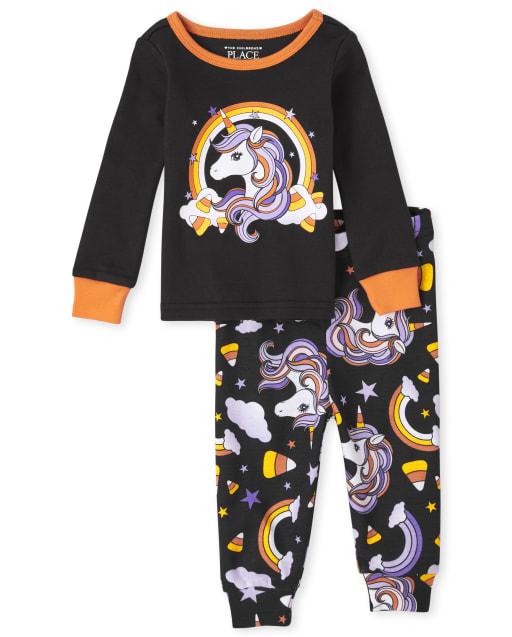Baby And Toddler Girls Halloween Long Sleeve Unicorn Snug Fit Cotton Pajamas
