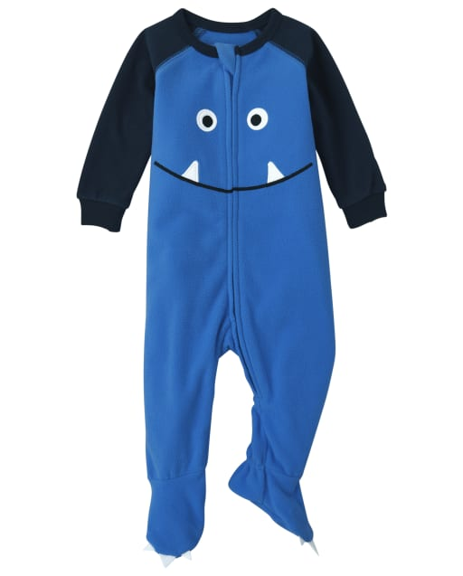 Baby And Toddler Boys Long Sleeve Monster Fleece Footed One Piece Pajamas