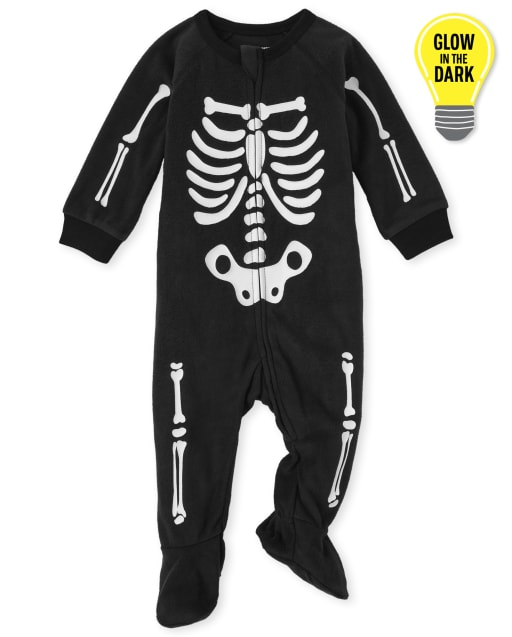 Unisex Baby And Toddler Matching Family Long Sleeve Glow In The Dark Skeleton Fleece One Piece Pajamas