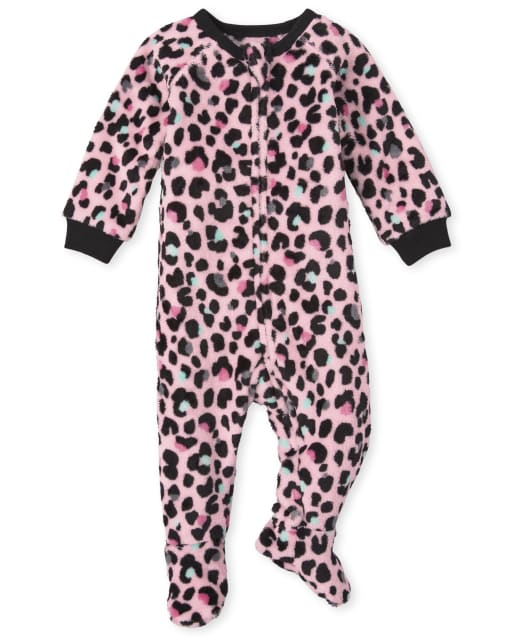 Baby And Toddler Girls Mommy And Me Long Sleeve Leopard Print Fleece Footed One Piece Pajamas