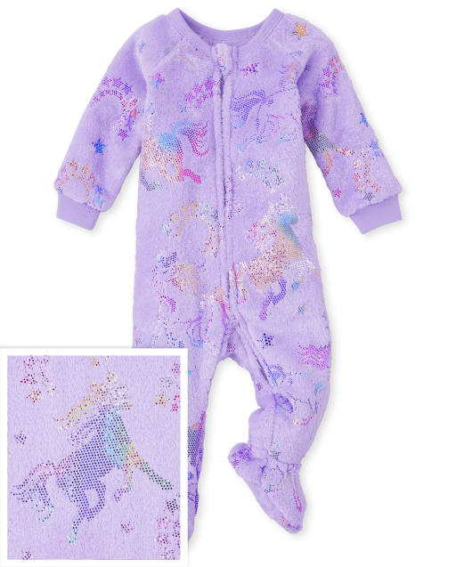 Baby And Toddler Girls Mommy And Me Long Sleeve Unicorn Fleece One Hooded Matching Piece Pajamas