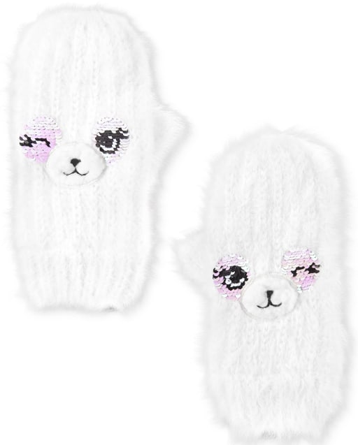 Girls Flip Sequin Llama Mittens
