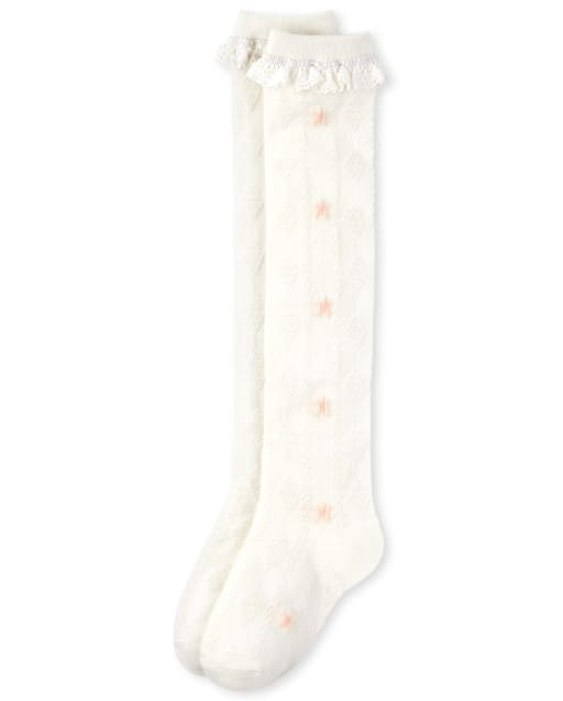 Calcetines para botas de niña Flower Pointelle