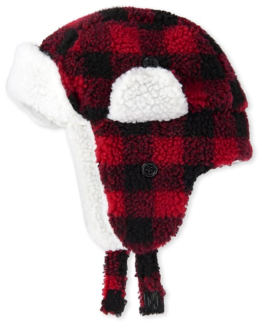 Unisex Toddler Christmas Matching Family Buffalo Plaid Sherpa Trapper Hat