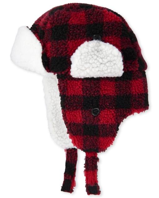 Sombrero de trampero de sherpa a cuadros de búfalo familiar a juego de Navidad para niños unisex