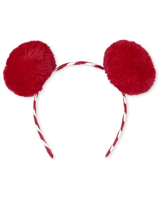 Girls Christmas Candy Cane Pom Pom Headband