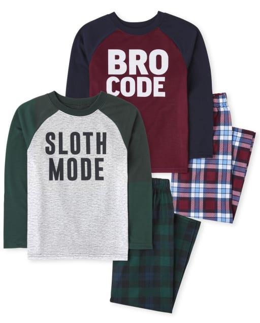Paquete de 2 pijamas de manga larga Sloth Bro para niños