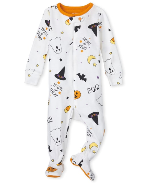 Unisex Baby And Toddler Long Sleeve Halloween Print Snug Fit Cotton One Piece Pajamas