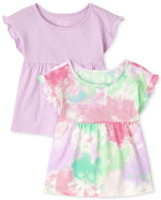 Pack de 2 blusas con túnica con efecto tie dye para niñas pequeñas