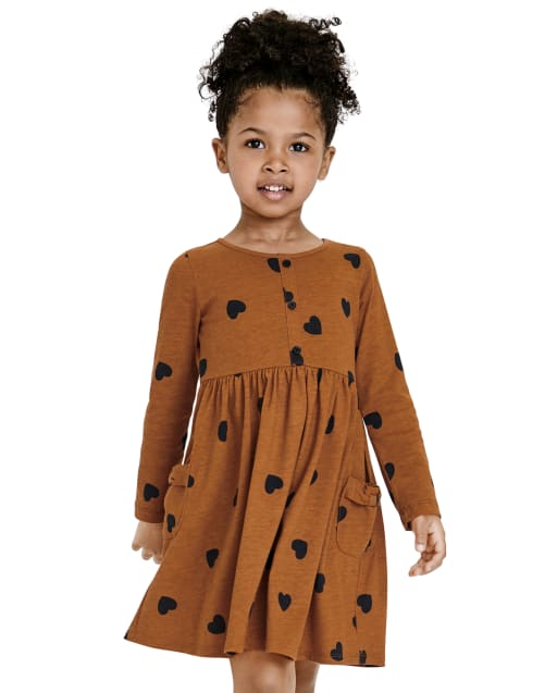Baby And Toddler Girls Long Sleeve Heart Print Bow Knit Skater Dress