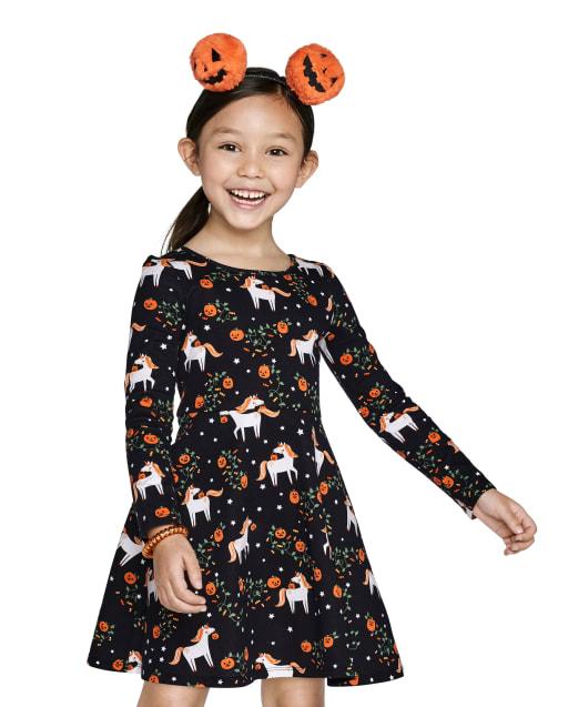 Baby And Toddler Girls Long Sleeve Halloween Unicorn Print Knit Skater Dress