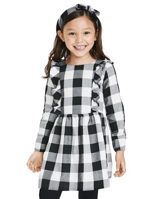 Toddler Girls Matching Family Long Sleeve Buffalo Plaid Twill Dress