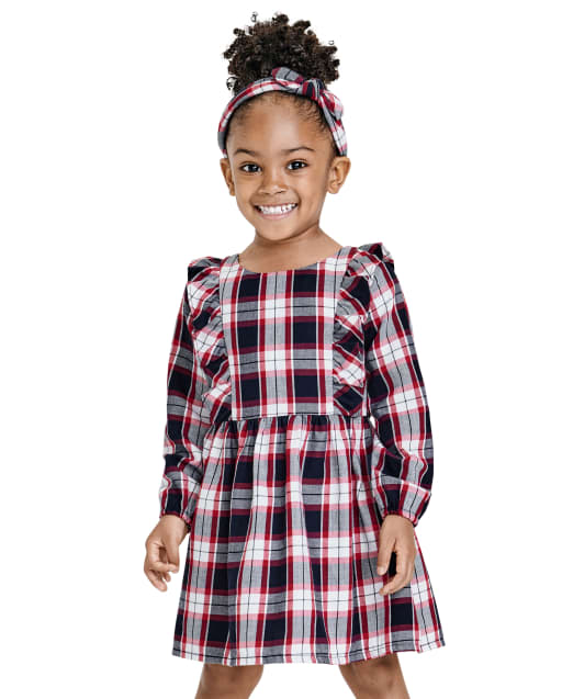 Baby And Toddler Girls Matching Family Long Sleeve Plaid Twill Dress