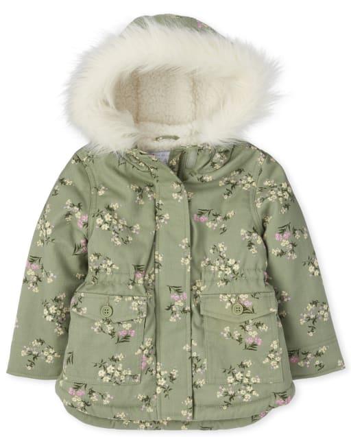 Toddler Girls Long Sleeve Floral Parka Jacket