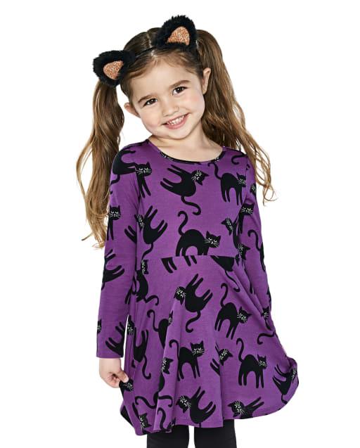 Baby And Toddler Girls Long Sleeve Halloween Cat Print Knit Skater Dress