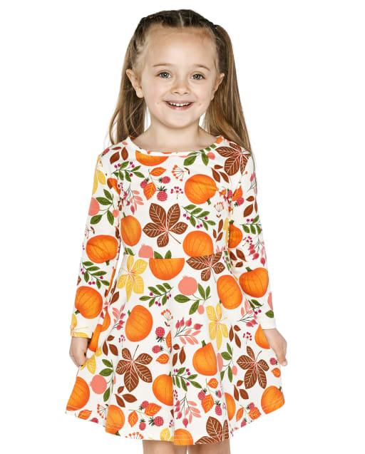 Baby And Toddler Girls Long Sleeve Pumpkin Print Knit Skater Dress