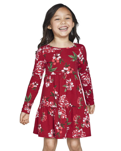 Baby And Toddler Girls Long Sleeve Floral Print Knit Tiered Dress