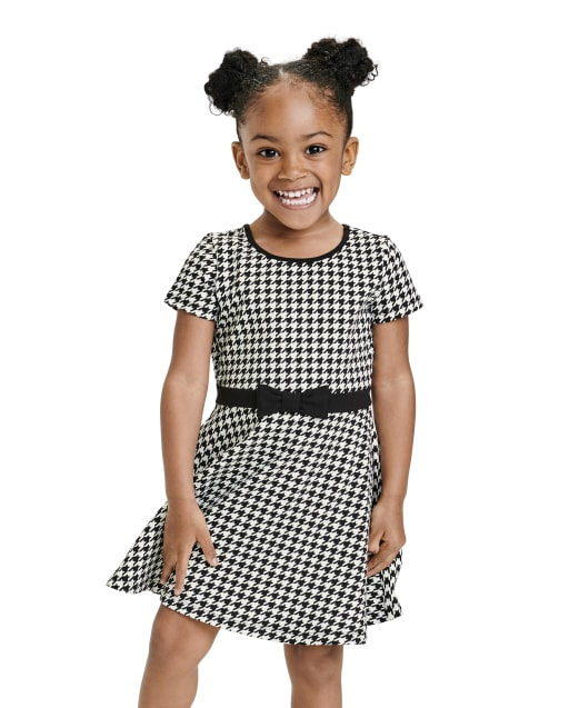Baby And Toddler Girls Short Sleeve Houndstooth Print Ponte Knit Dress