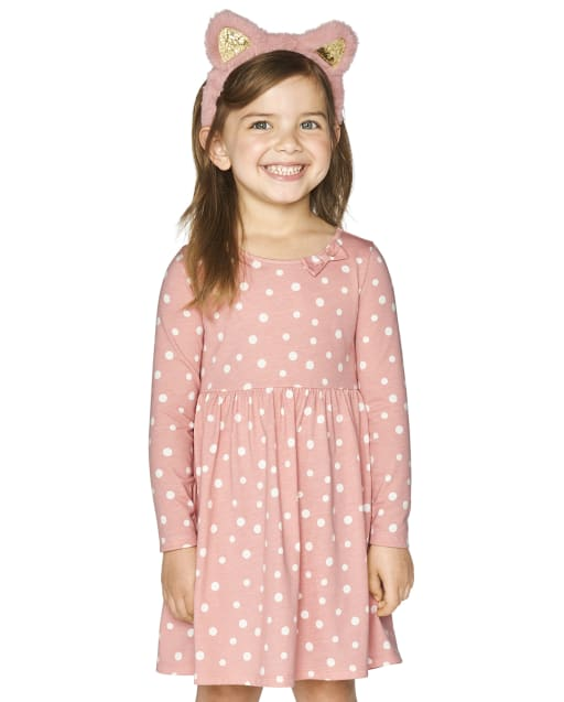 Baby And Toddler Girls Long Sleeve Dot Bow Knit Skater Dress