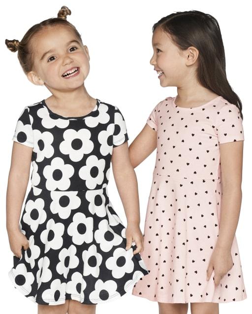 Paquete de 2 vestidos skater con lunares florales para niñas pequeñas