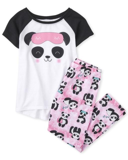 Girls Short Sleeve Panda Pajamas