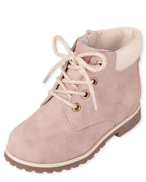 Toddler Girls Heart Eyelet Lace Up Booties