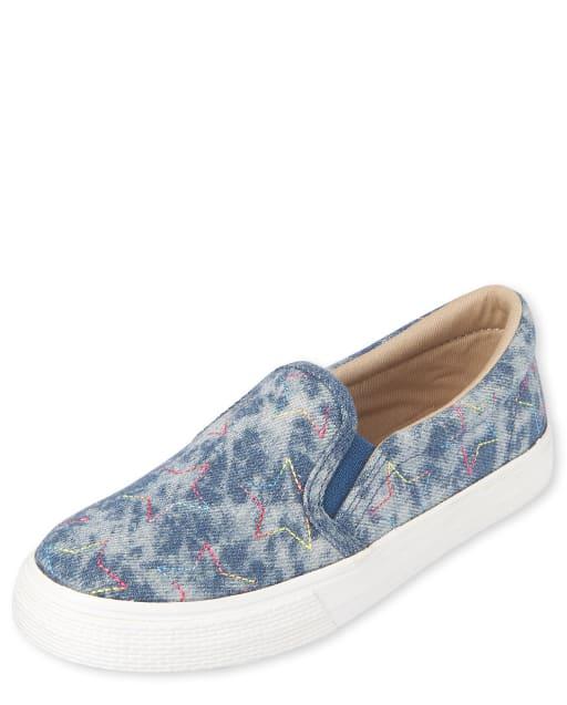 Girls Star Denim Slip On Sneakers