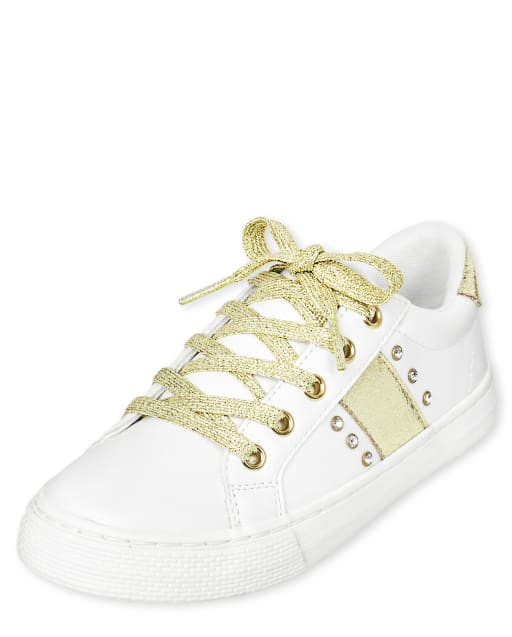 Girls Jeweled Low Top Sneakers