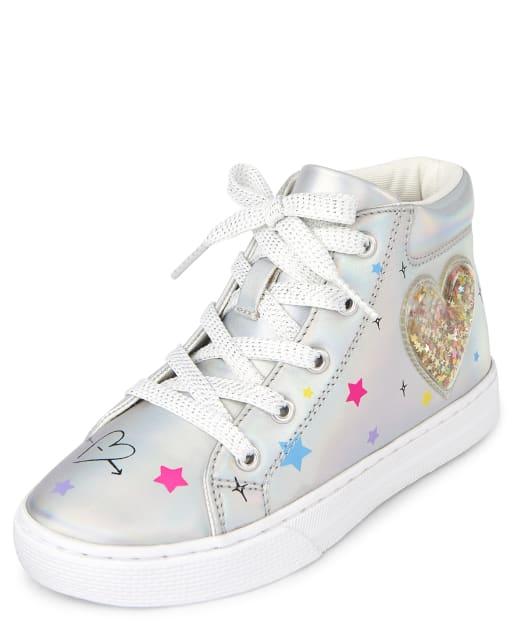 Girls Confetti Shaker Heart Metallic Hi Top Sneakers