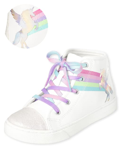 Girls Unicorn Hi Top Sneakers