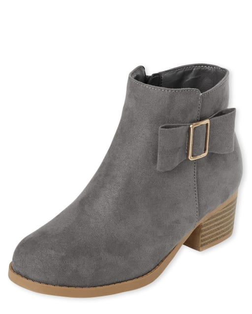 Girls Faux Suede Bow Booties