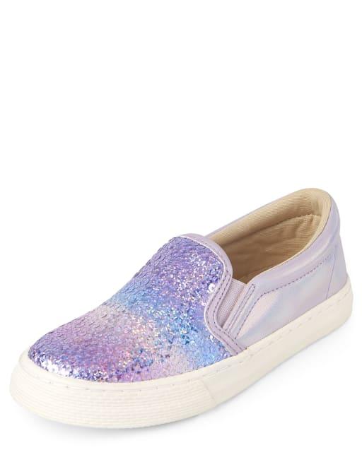 Girls Sequin Slip On Sneakers