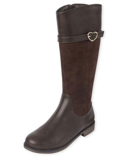 Girls Heart Buckle Tall Boots